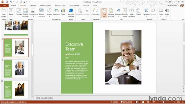 Working with text boxes: PowerPoint 2013 Essential Training
