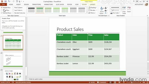 Creating and formatting tables: PowerPoint 2013 Essential Training
