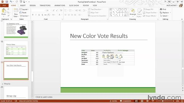 Inserting tables from Excel: PowerPoint 2013 Essential Training