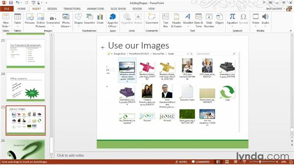 Adding shapes: PowerPoint 2013 Essential Training