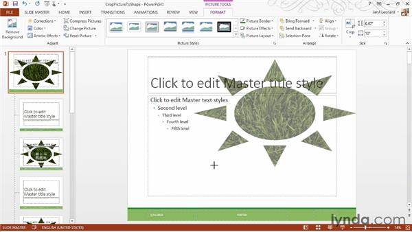 Cropping a picture to a shape: PowerPoint 2013 Essential Training