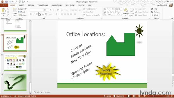 Merging shapes to create your own graphics: PowerPoint 2013 Essential Training