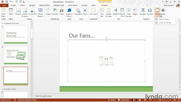 Adding and formatting video from your computer and from YouTube: PowerPoint 2013 Essential Training
