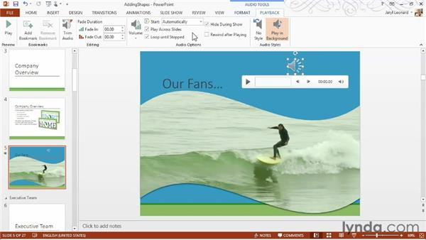 Adding and working with audio files: PowerPoint 2013 Essential Training