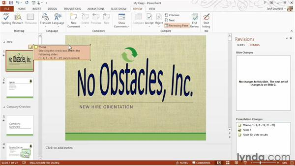 Reviewing and comparing changes with coworkers: PowerPoint 2013 Essential Training