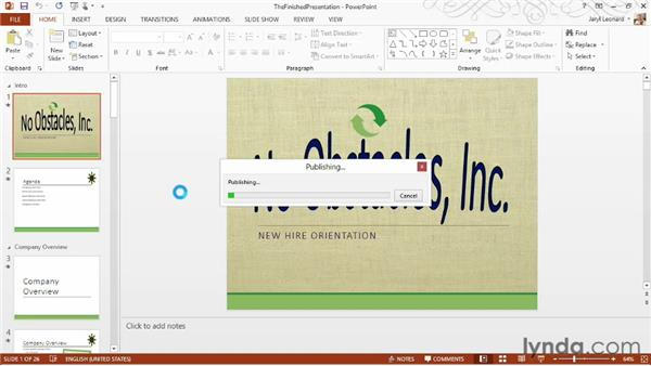 Sending the presentation via email: PowerPoint 2013 Essential Training