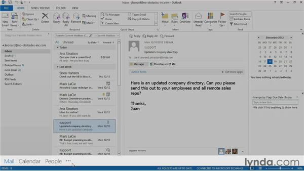 Touring the Outlook interface: Outlook 2013 Essential Training