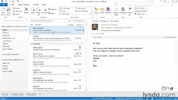 Finding messages quickly: Outlook 2013 Essential Training