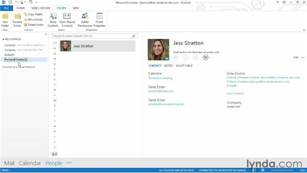 Moving and copying contacts into folders: Outlook 2013 Essential Training
