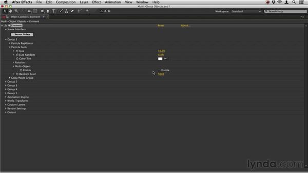 Working with multi-object objects: Element 3D Essential Training