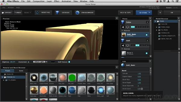Tweaking bevel settings: Element 3D Essential Training