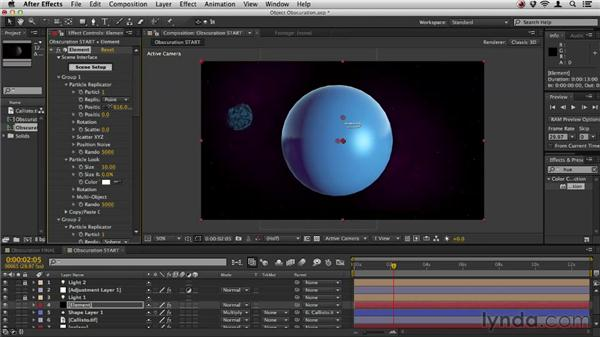 Obscuring objects with materials: Element 3D Essential Training