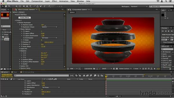Using replicator shapes: Element 3D Essential Training