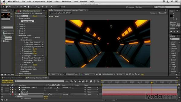 Animating object materials: Element 3D Essential Training