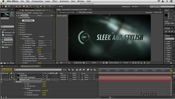 Animating text: Element 3D Essential Training