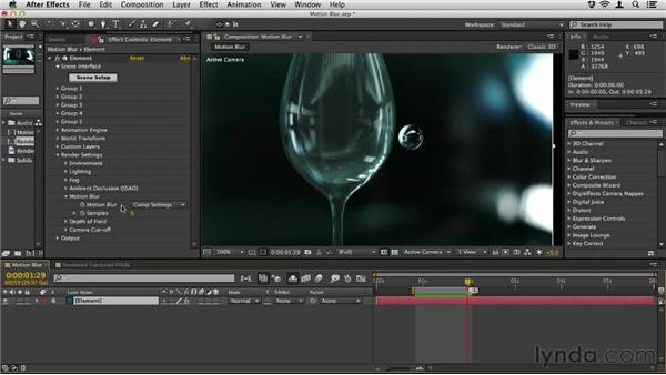Enabling motion blur: Element 3D Essential Training