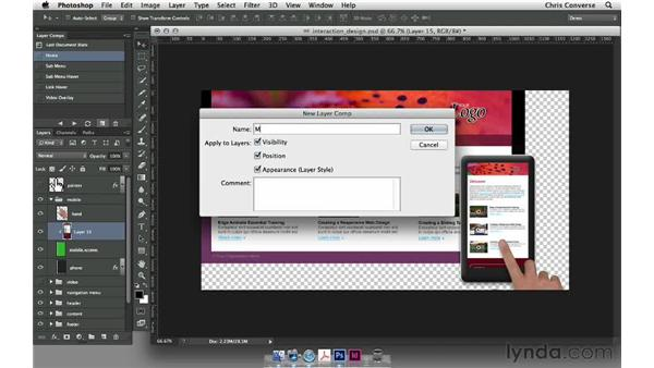 Simulating movement onscreen: Design the Web: Layer Comps