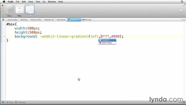 Creating a horizontal gradient: CSS: Gradients