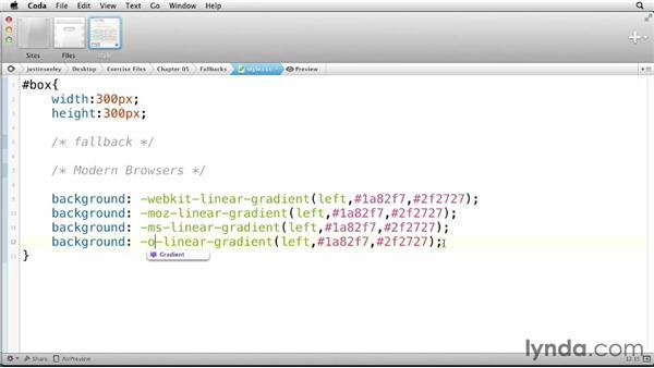 Creating fallbacks: CSS: Gradients