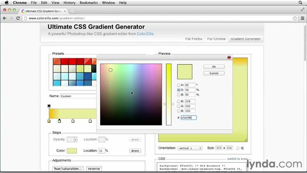 Generating gradients via the web: CSS: Gradients