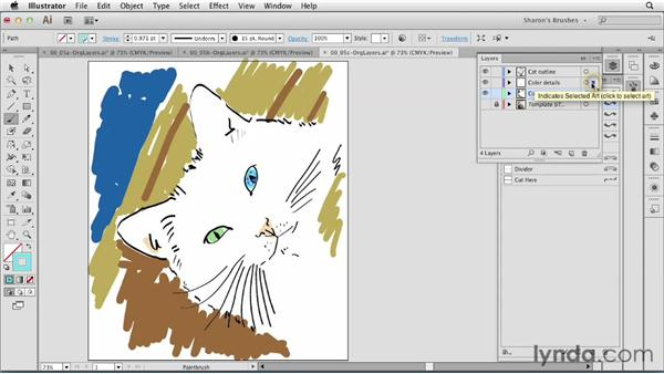 Using layers for brushes: Artistic Painting with Illustrator: Natural Media Brushes