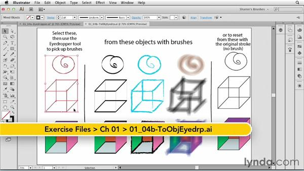 Applying brushes to objects with the Eyedropper tool: Artistic Painting with Illustrator: Natural Media Brushes
