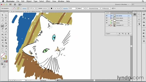 Switching between brushes and layers easily, by selecting: Artistic Painting with Illustrator: Natural Media Brushes
