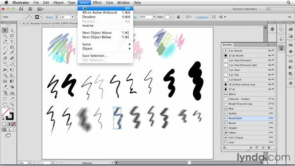 Copying and pasting or dragging and dropping art with brushes: Artistic Painting with Illustrator: Natural Media Brushes