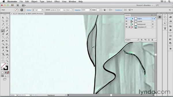 Selecting and smoothing a brushed path as you work: Artistic Painting with Illustrator: Natural Media Brushes