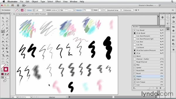 Safely experimenting: Duplicating and customizing brushes: Artistic Painting with Illustrator: Natural Media Brushes