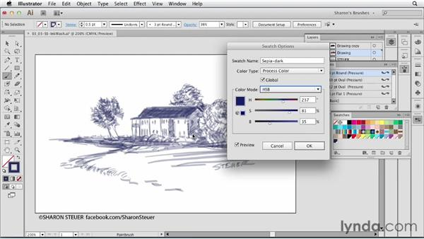 Creating an ink-wash effect: Artistic Painting with Illustrator: Natural Media Brushes