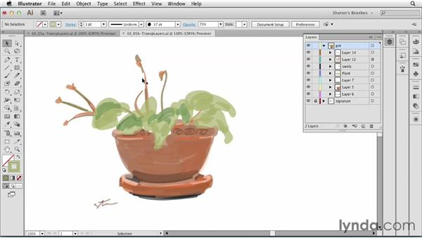 Creating and organizing complex transparent layers: Artistic Painting with Illustrator: Natural Media Brushes
