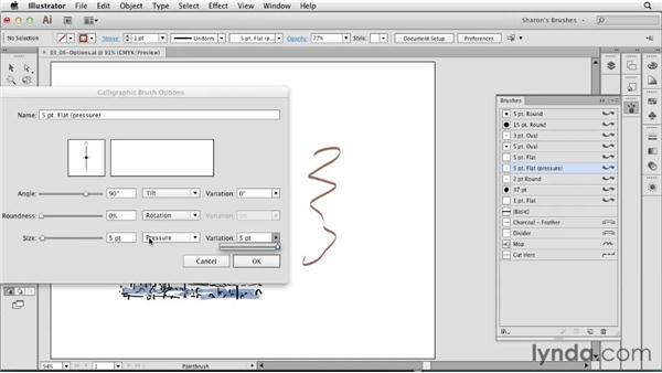 Overview of Calligraphic Brush options: Artistic Painting with Illustrator: Natural Media Brushes
