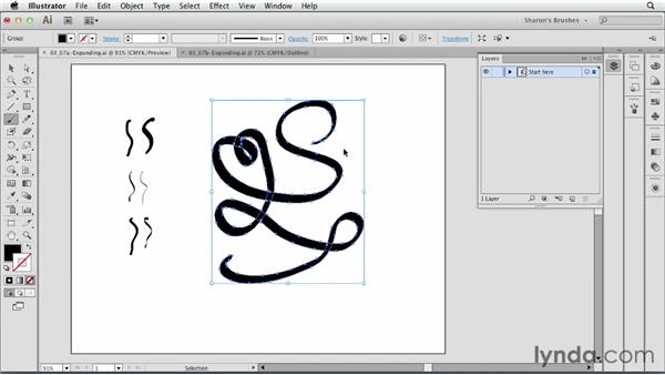 Expanding calligraphic brushes: Artistic Painting with Illustrator: Natural Media Brushes
