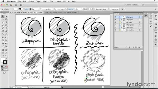 Comparing Calligraphic and Blob Brush tools: Artistic Painting with Illustrator: Natural Media Brushes