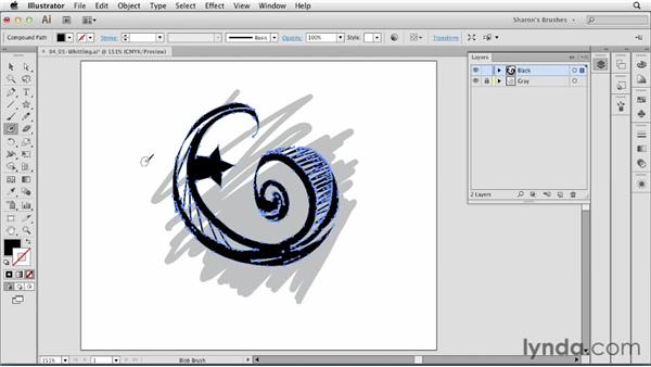 Whittle while you work: Applying the Eraser and Smooth tools: Artistic Painting with Illustrator: Natural Media Brushes