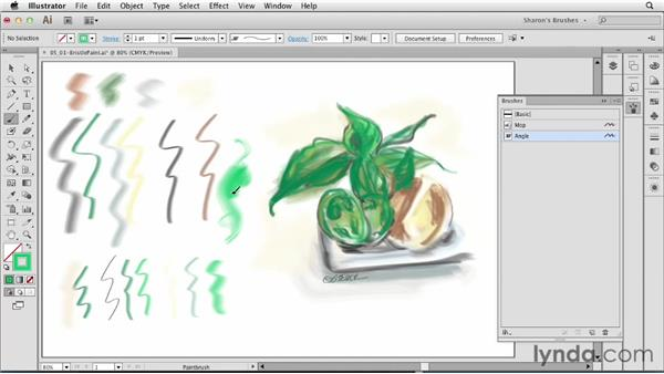 The basics of using bristle brushes: Artistic Painting with Illustrator: Natural Media Brushes