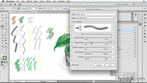 Overview of Bristle Brush options: Artistic Painting with Illustrator: Natural Media Brushes