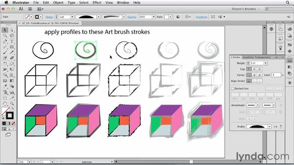 Applying stroke profiles to brushed paths: Artistic Painting with Illustrator: Natural Media Brushes