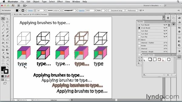 Applying brush and brush-like graphic styles to type: Artistic Painting with Illustrator: Natural Media Brushes