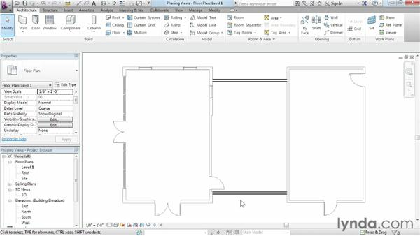 Assigning phasing properties to views: Phasing and Design Options in Revit