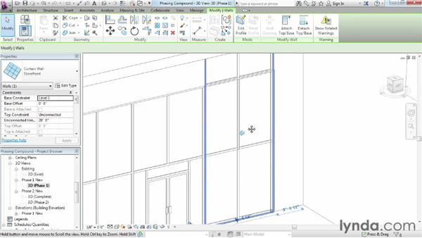 Managing compound-element phasing: Phasing and Design Options in Revit