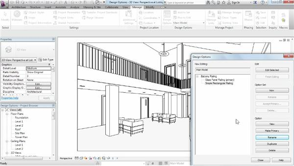 Setting up option sets and options: Phasing and Design Options in Revit