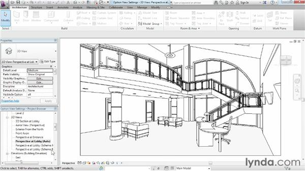 Working with design option view settings: Phasing and Design Options in Revit