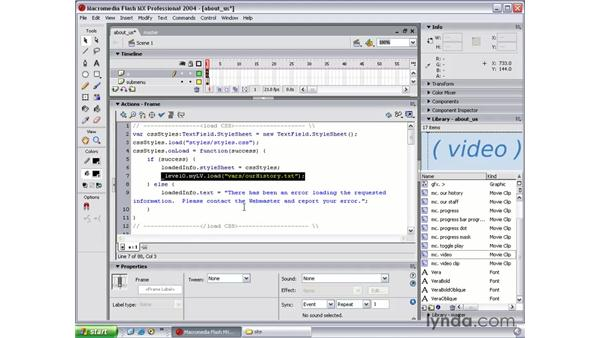 finishing the submenu: Flash MX 2004 Beyond the Basics