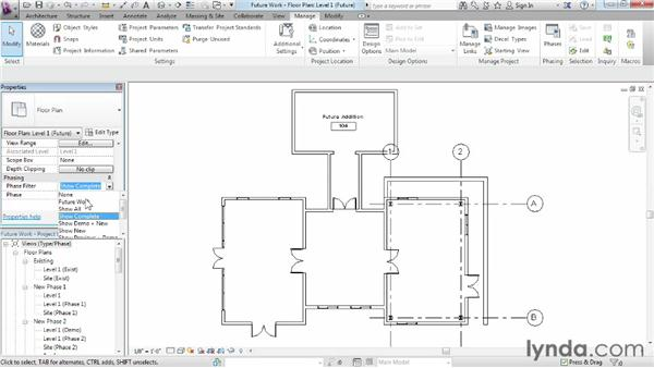 Designating future work: Phasing and Design Options in Revit
