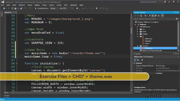 Playing music with HTML5 audio tags: Building a Windows Store Game Using HTML and JavaScript