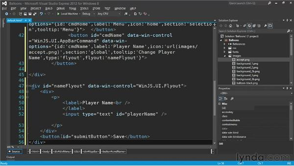 The flyout control: Building a Windows Store Game Using HTML and JavaScript