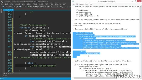 Using the accelerometer: Building a Windows Store Game Using HTML and JavaScript