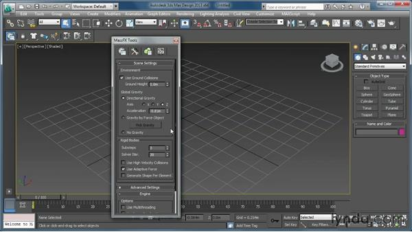 A look at the MassFX and the 3ds Max user interfaces: Creating Simulations in MassFX and 3ds Max